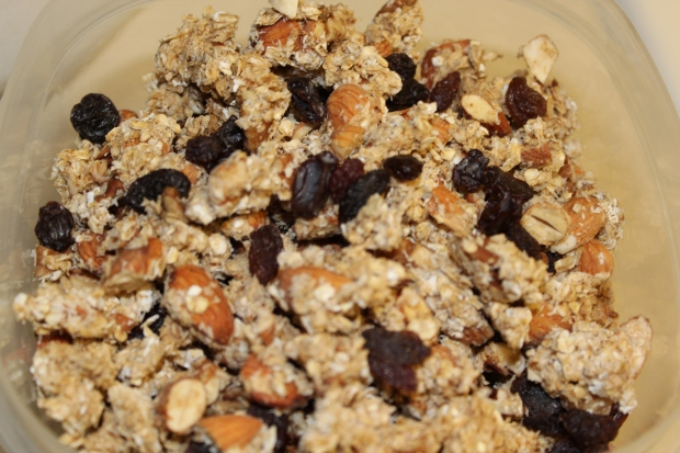 24 hours later. Broken up granola from the dehydrator with raisins. Yum!