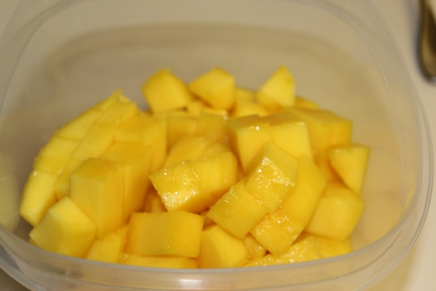 Skin and cut the mangoes. I used a little less than 2 large mangoes