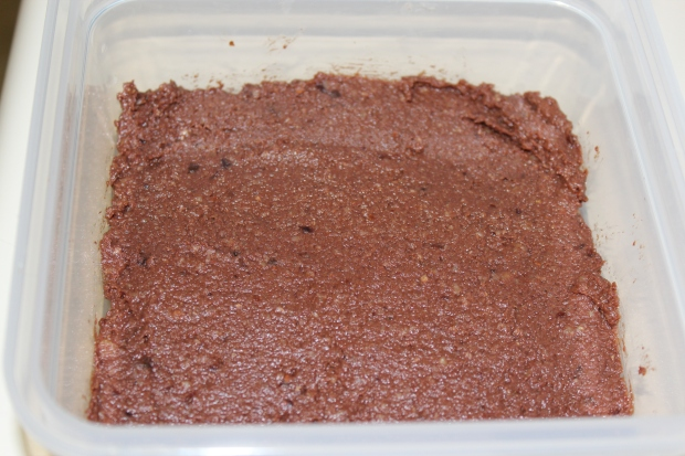 Spread the brownie mixture into a small pan or container and store in the freezer