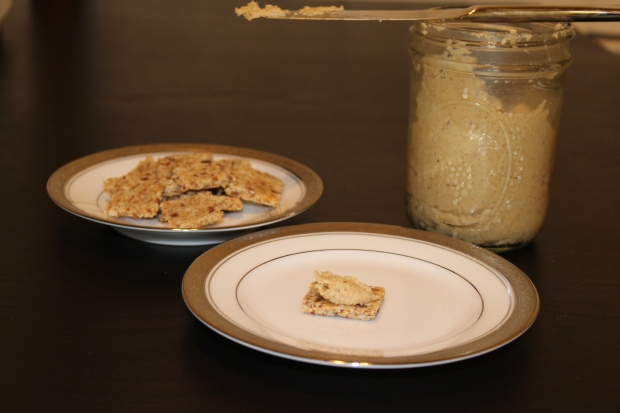 Crackers with homemade almond butter
